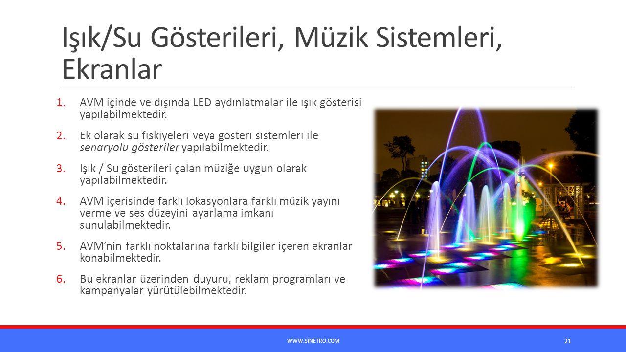 Işık/Su Gösterileri, Müzik Sistemleri, Ekranlar 1.AVM içinde ve dışında LED aydınlatmalar ile ışık gösterisi yapılabilmektedir. 2.Ek olarak su fıskiye