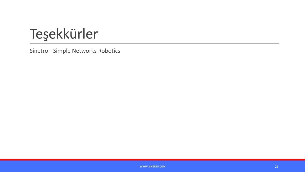 Teşekkürler Sinetro - Simple Networks Robotics 23 WWW.SINETRO.COM