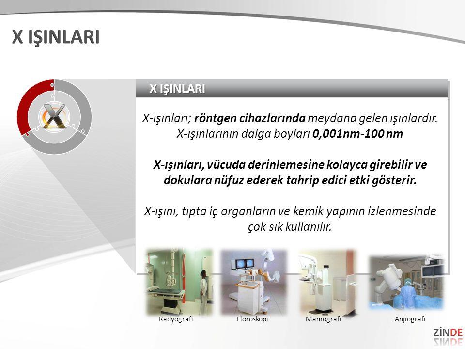 X IŞINLARI X-ışınları; röntgen cihazlarında meydana gelen ışınlardır. X-ışınlarının dalga boyları 0,001nm-100 nm X-ışınları, vücuda derinlemesine kola