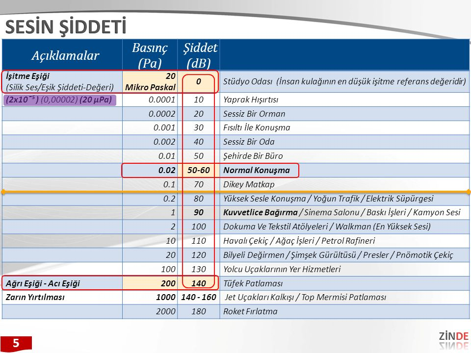 Açıklamalar Basınç (Pa) Şiddet (dB) İşitme Eşiği (Silik Ses/Eşik Şiddeti-Değeri) 20 Mikro Paskal 0Stüdyo Odası (İnsan kulağının en düşük işitme refera