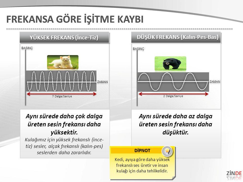 Aynı sürede daha çok dalga üreten sesin frekansı daha yüksektir. Kulağımız için yüksek frekanslı (ince- tiz) sesler, alçak frekanslı (kalın-pes) sesle