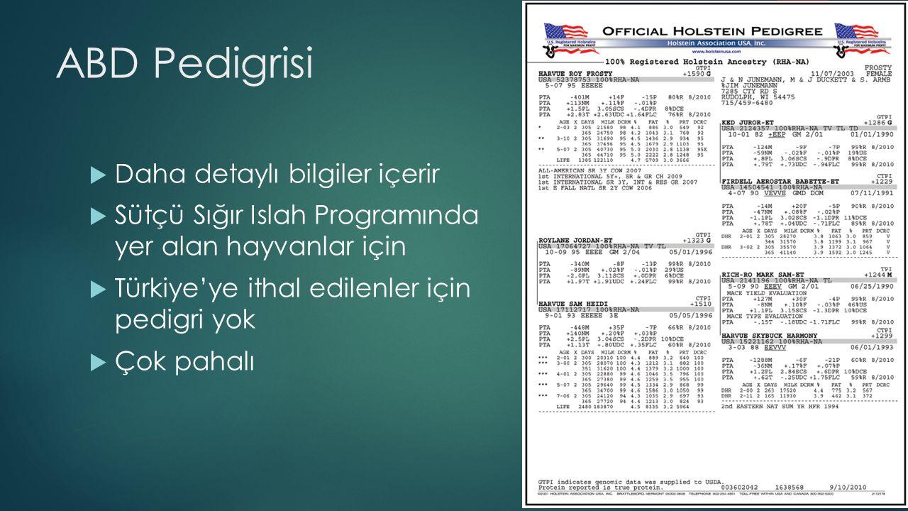 ABD Pedigrisi  Daha detaylı bilgiler içerir  Sütçü Sığır Islah Programında yer alan hayvanlar için  Türkiye'ye ithal edilenler için pedigri yok  Ç