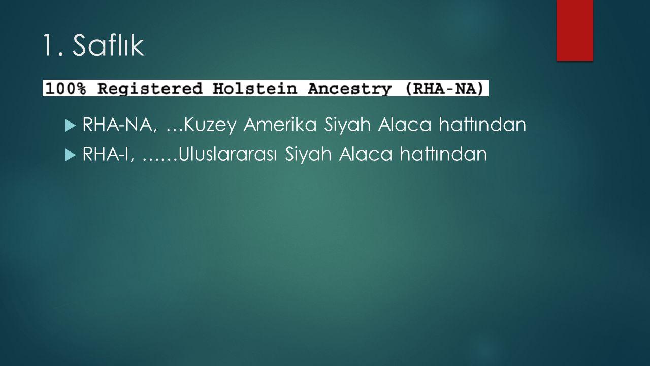 1. Saflık  RHA-NA, …Kuzey Amerika Siyah Alaca hattından  RHA-I, ……Uluslararası Siyah Alaca hattından