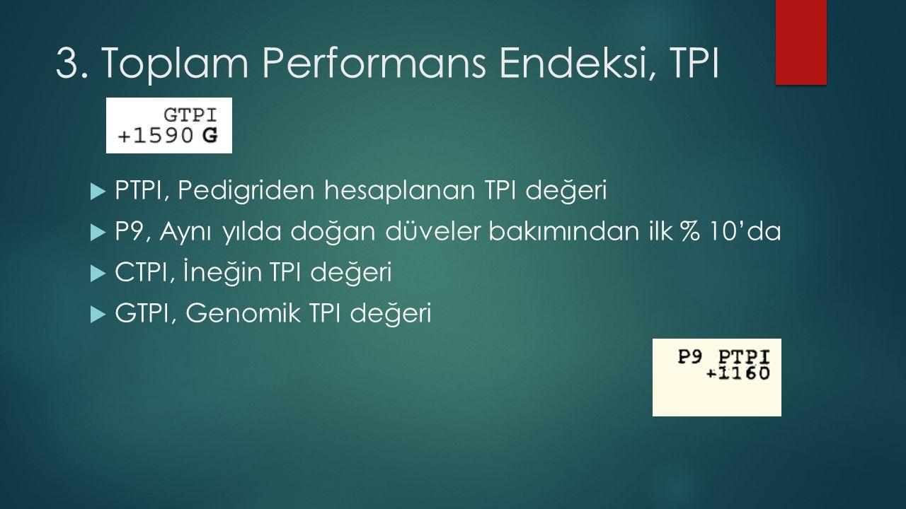 3. Toplam Performans Endeksi, TPI  PTPI, Pedigriden hesaplanan TPI değeri  P9, Aynı yılda doğan düveler bakımından ilk % 10'da  CTPI, İneğin TPI de