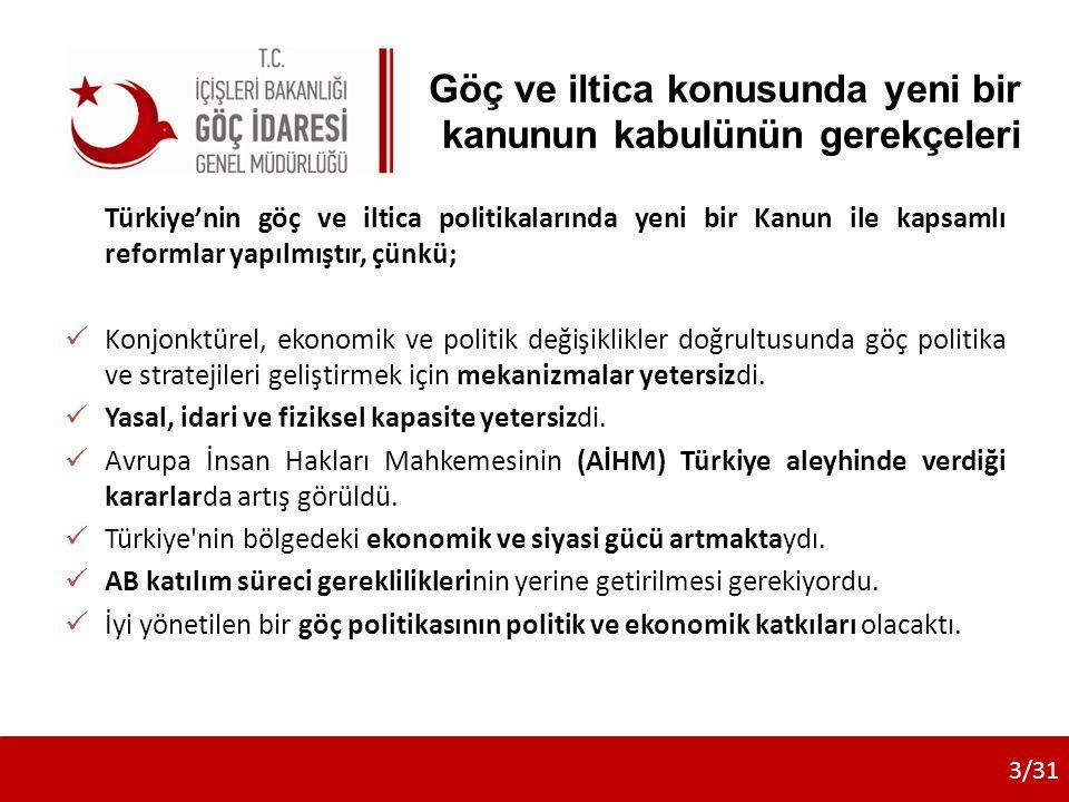 Göç ve iltica konusunda yeni bir kanunun kabulünün gerekçeleri Türkiye'nin göç ve iltica politikalarında yeni bir Kanun ile kapsamlı reformlar yapılmıştır, çünkü; Konjonktürel, ekonomik ve politik değişiklikler doğrultusunda göç politika ve stratejileri geliştirmek için mekanizmalar yetersizdi.