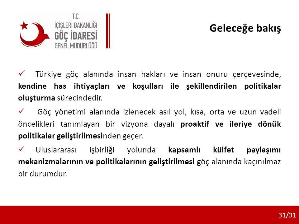 Geleceğe bakış Türkiye göç alanında insan hakları ve insan onuru çerçevesinde, kendine has ihtiyaçları ve koşulları ile şekillendirilen politikalar ol