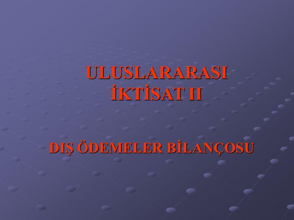 DIŞ ÖDEMELER BİLANÇOSU ULUSLARARASI İKTİSAT II