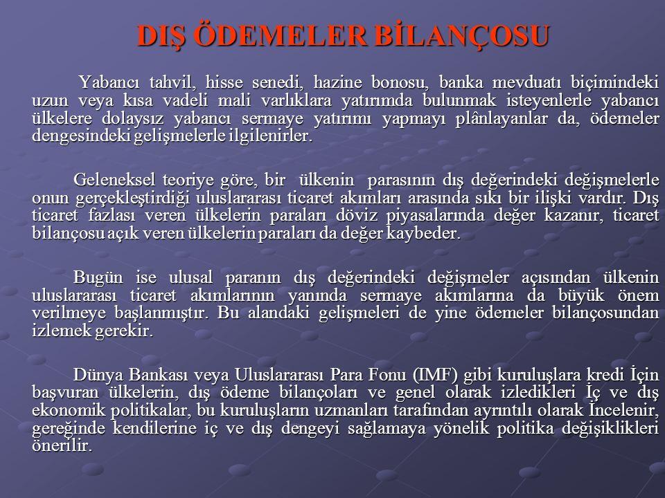 ÖDEMELER BİLANÇOSUNUN ANA HESAP GRUPLARI III.