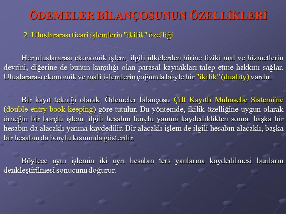ÖDEMELER BİLANÇOSUNUN ÖZELLİKLERİ 3.