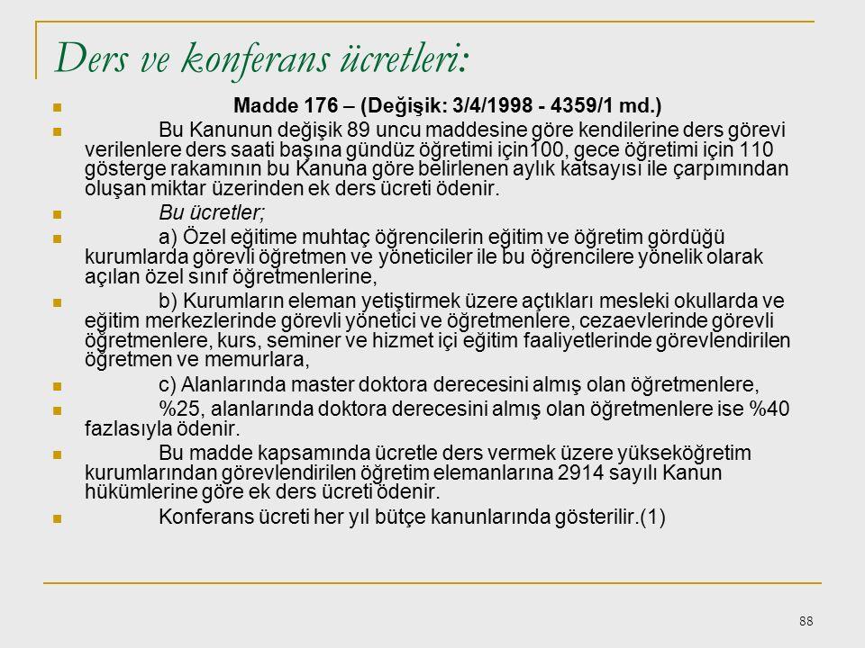 87 Vekalet aylığına hak kazanma: Madde 173 – (Mülga: 23/12/1972 - KHK 2/5 md.) Vekalet görevinin fiilen yapılması şartı: Madde 174 – Vekalet aylıkları