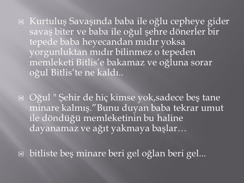  Kurtuluş Savaşında baba ile oğlu cepheye gider savaş biter ve baba ile oğul şehre dönerler bir tepede baba heyecandan mıdır yoksa yorgunluktan mıdır bilinmez o tepeden memleketi Bitlis'e bakamaz ve oğluna sorar oğul Bitlis'te ne kaldı..