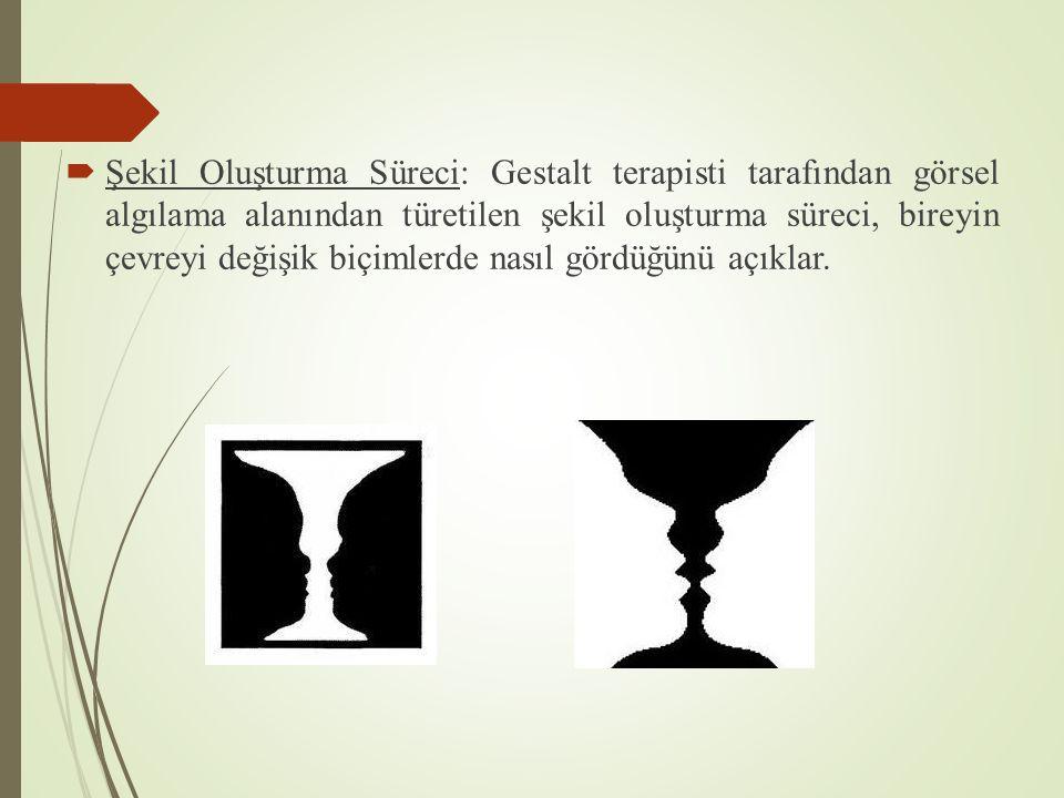  Şekil Oluşturma Süreci: Gestalt terapisti tarafından görsel algılama alanından türetilen şekil oluşturma süreci, bireyin çevreyi değişik biçimlerde