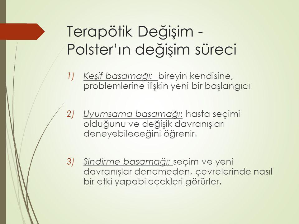 Terapötik Değişim - Polster'ın değişim süreci 1)Keşif basamağı: bireyin kendisine, problemlerine ilişkin yeni bir başlangıcı 2)Uyumsama basamağı: hast