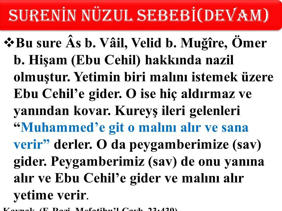  Bu sure Âs b. Vâil, Velid b. Muğîre, Ömer b. Hişam (Ebu Cehil) hakkında nazil olmuştur.