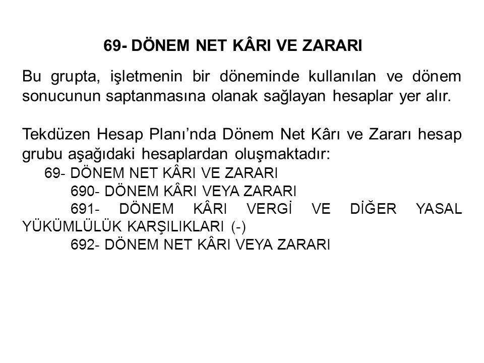 69- DÖNEM NET KÂRI VE ZARARI Bu grupta, işletmenin bir döneminde kullanılan ve dönem sonucunun saptanmasına olanak sağlayan hesaplar yer alır.