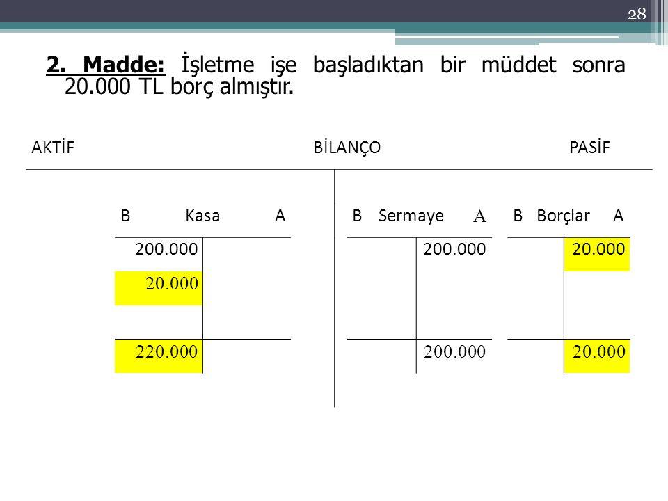 2. Madde: İşletme işe başladıktan bir müddet sonra 20.000 TL borç almıştır.