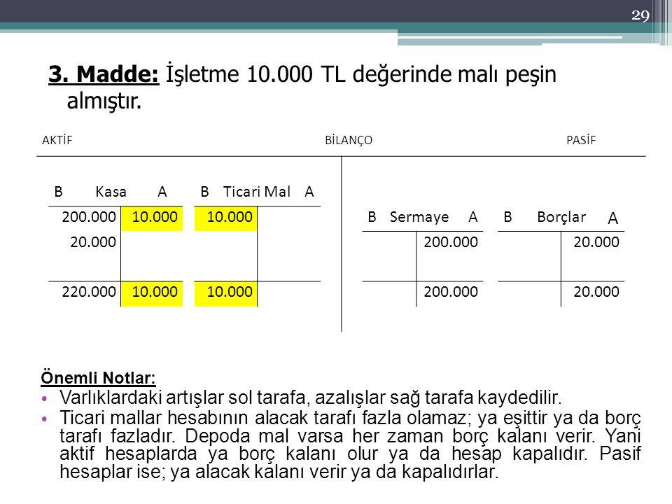 3. Madde: İşletme 10.000 TL değerinde malı peşin almıştır.