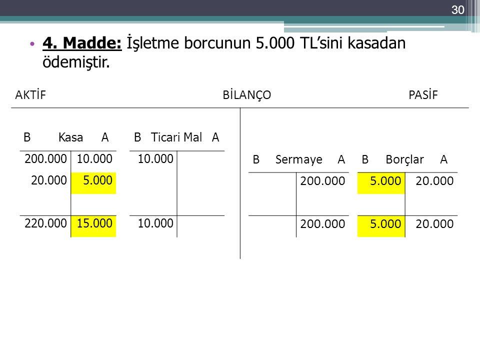 4. Madde: İşletme borcunun 5.000 TL'sini kasadan ödemiştir.