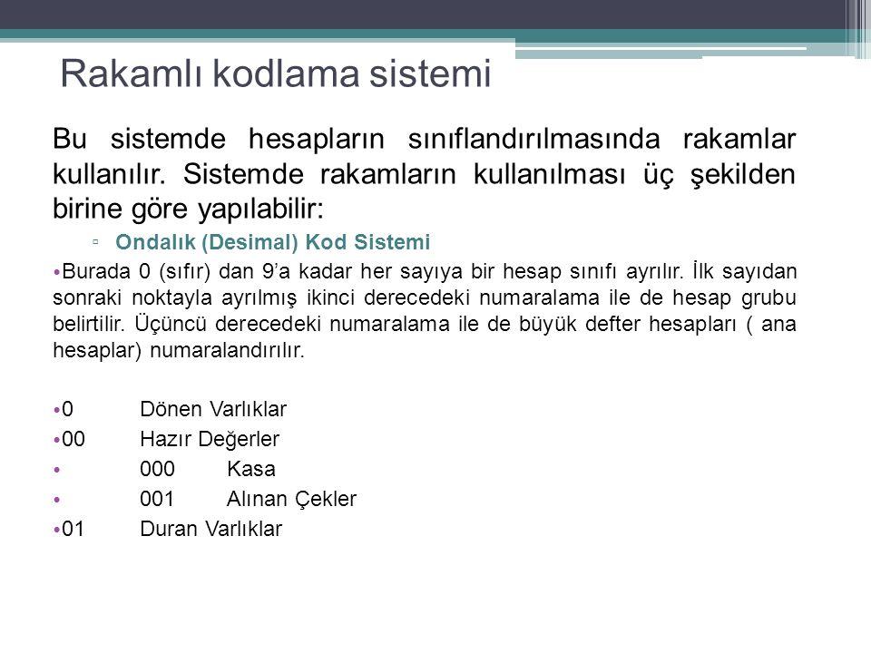 Rakamlı kodlama sistemi Bu sistemde hesapların sınıflandırılmasında rakamlar kullanılır.