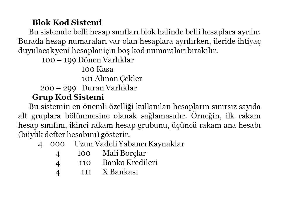 49 Blok Kod Sistemi Bu sistemde belli hesap sınıfları blok halinde belli hesaplara ayrılır.