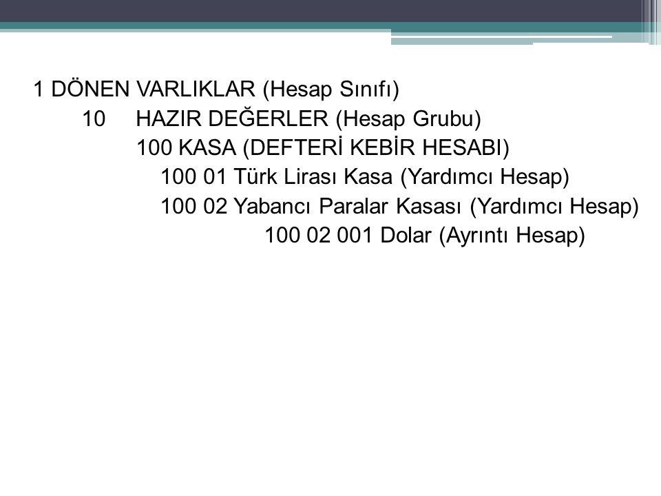 1 DÖNEN VARLIKLAR (Hesap Sınıfı) 10 HAZIR DEĞERLER (Hesap Grubu) 100 KASA (DEFTERİ KEBİR HESABI) 100 01 Türk Lirası Kasa (Yardımcı Hesap) 100 02 Yabancı Paralar Kasası (Yardımcı Hesap) 100 02 001 Dolar (Ayrıntı Hesap) 51