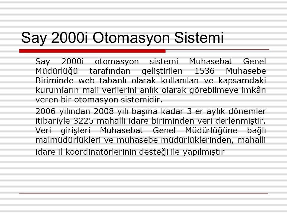 Say 2000i Otomasyon Sistemi Say 2000i otomasyon sistemi Muhasebat Genel Müdürlüğü tarafından geliştirilen 1536 Muhasebe Biriminde web tabanlı olarak k