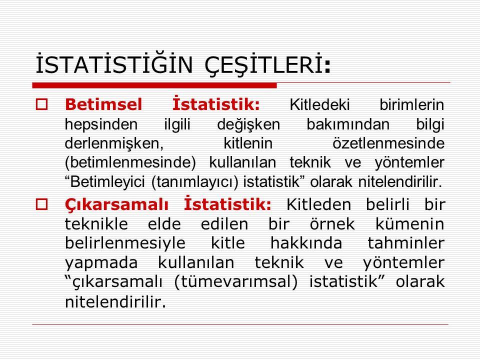 İSTATİSTİĞİN ÇEŞİTLERİ:  Betimsel İstatistik: Kitledeki birimlerin hepsinden ilgili değişken bakımından bilgi derlenmişken, kitlenin özetlenmesinde (