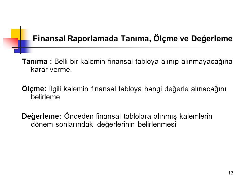 13 Finansal Raporlamada Tanıma, Ölçme ve Değerleme Tanıma : Belli bir kalemin finansal tabloya alınıp alınmayacağına karar verme. Ölçme: İlgili kalemi