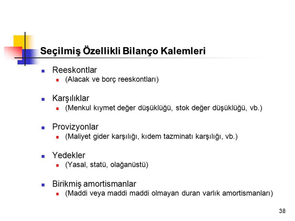 38 Seçilmiş Özellikli Bilanço Kalemleri Reeskontlar Reeskontlar (Alacak ve borç reeskontları) (Alacak ve borç reeskontları) Karşılıklar Karşılıklar (M