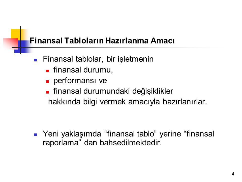 4 Finansal Tabloların Hazırlanma Amacı Finansal tablolar, bir işletmenin finansal durumu, performansı ve finansal durumundaki değişiklikler hakkında bilgi vermek amacıyla hazırlanırlar.