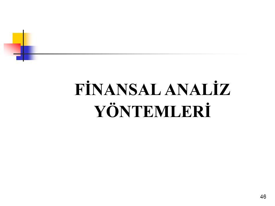 46 FİNANSAL ANALİZ YÖNTEMLERİ
