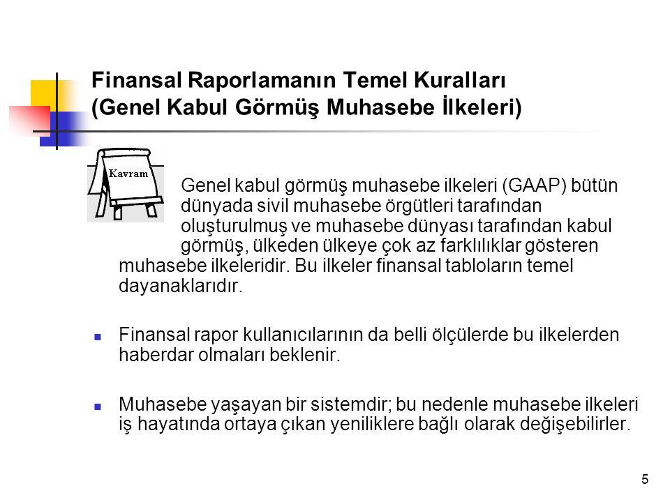 5 Finansal Raporlamanın Temel Kuralları (Genel Kabul Görmüş Muhasebe İlkeleri) Genel kabul görmüş muhasebe ilkeleri (GAAP) bütün dünyada sivil muhaseb