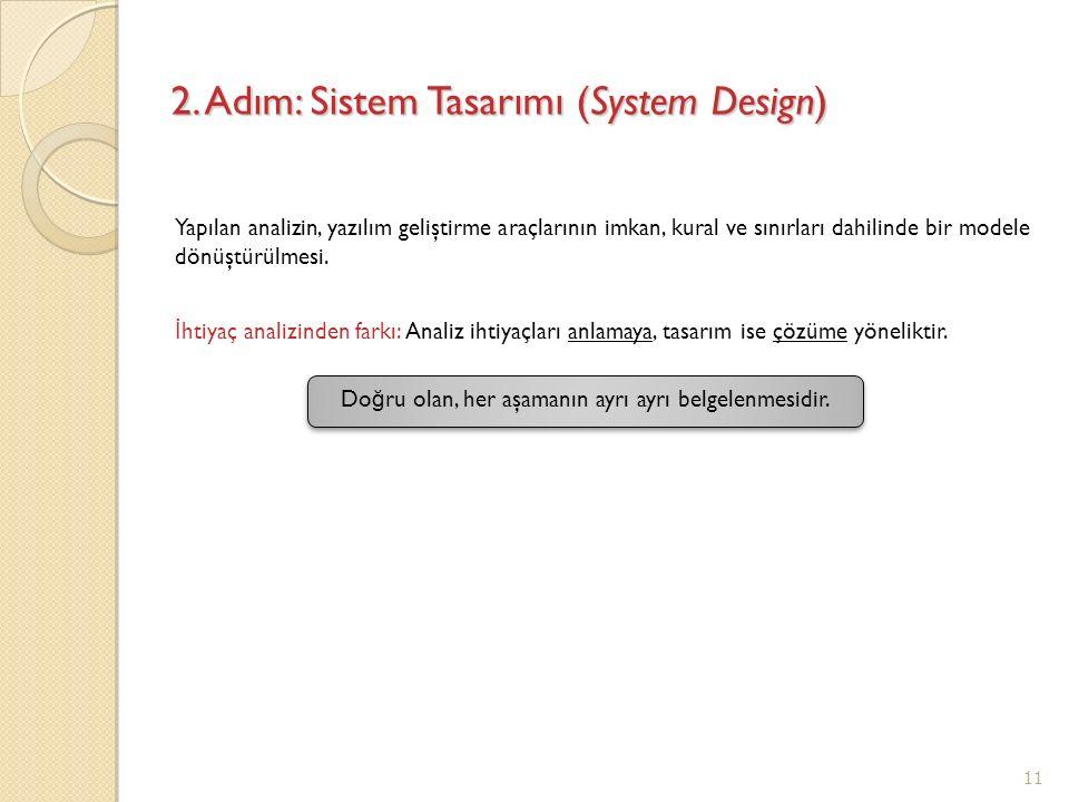 2. Adım: Sistem Tasarımı (System Design) Yapılan analizin, yazılım geliştirme araçlarının imkan, kural ve sınırları dahilinde bir modele dönüştürülmes