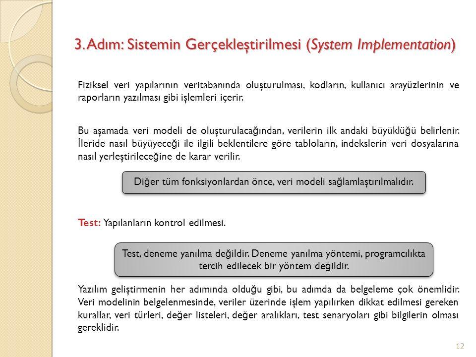 3. Adım: Sistemin Gerçekleştirilmesi (System Implementation) Fiziksel veri yapılarının veritabanında oluşturulması, kodların, kullanıcı arayüzlerinin