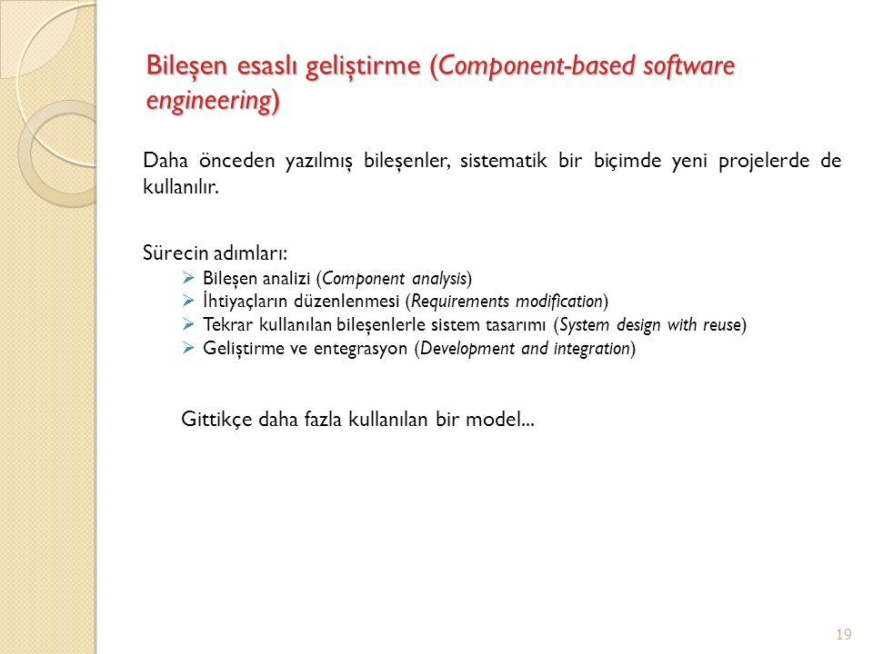 Bileşen esaslı geliştirme (Component-based software engineering) Daha önceden yazılmış bileşenler, sistematik bir biçimde yeni projelerde de kullanılı