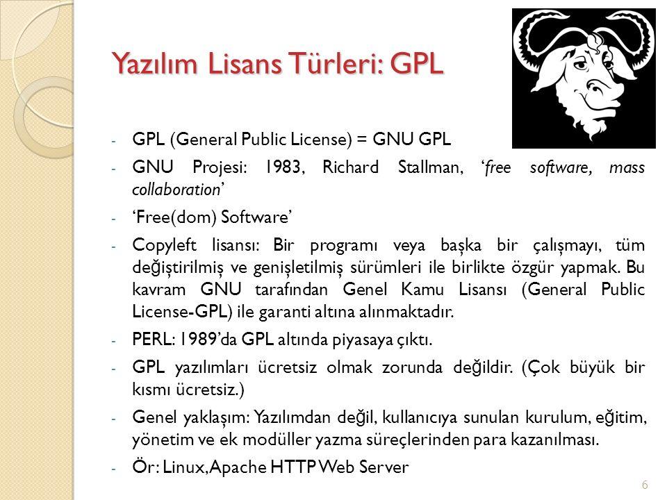 Yazılım Lisans Türleri: GPL - GPL (General Public License) = GNU GPL - GNU Projesi: 1983, Richard Stallman, 'free software, mass collaboration' - 'Fre