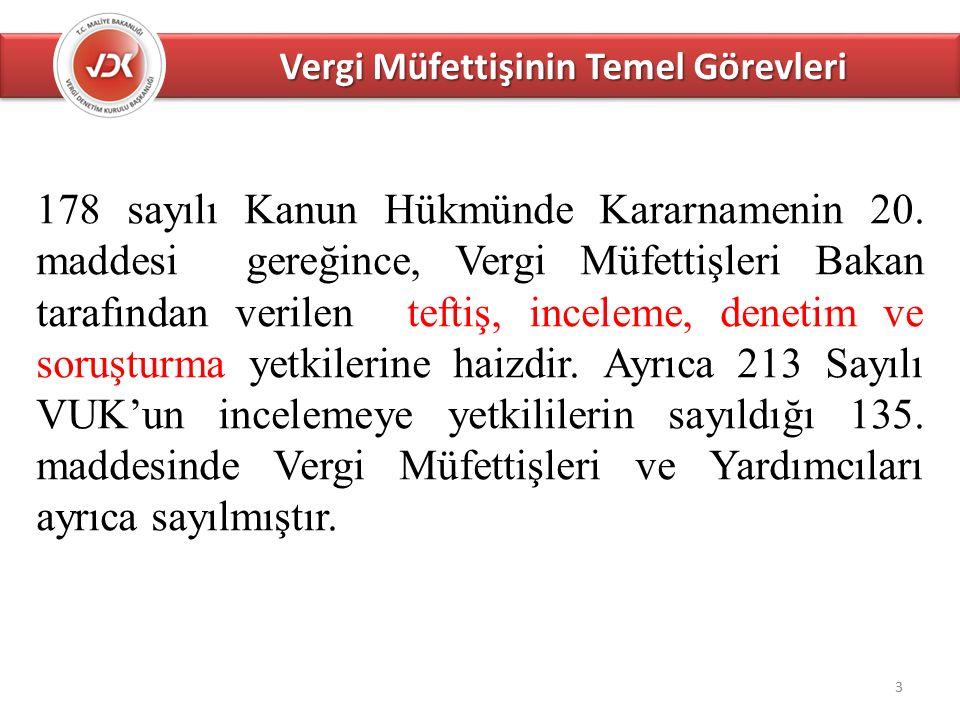 Vergi Müfettişinin Temel Görevleri 3 178 sayılı Kanun Hükmünde Kararnamenin 20.