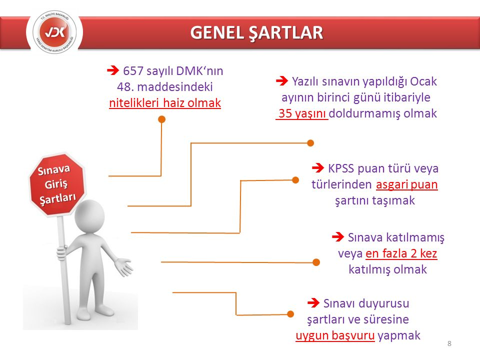 GENEL ŞARTLAR Sınava Giriş Şartları  Yazılı sınavın yapıldığı Ocak ayının birinci günü itibariyle 35 yaşını doldurmamış olmak  657 sayılı DMK'nın 48.