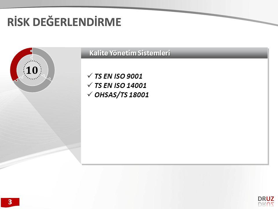 Kalite Yönetim Sistemleri TS EN ISO 9001 TS EN ISO 14001 OHSAS/TS 18001 TS EN ISO 9001 TS EN ISO 14001 OHSAS/TS 18001 10 3