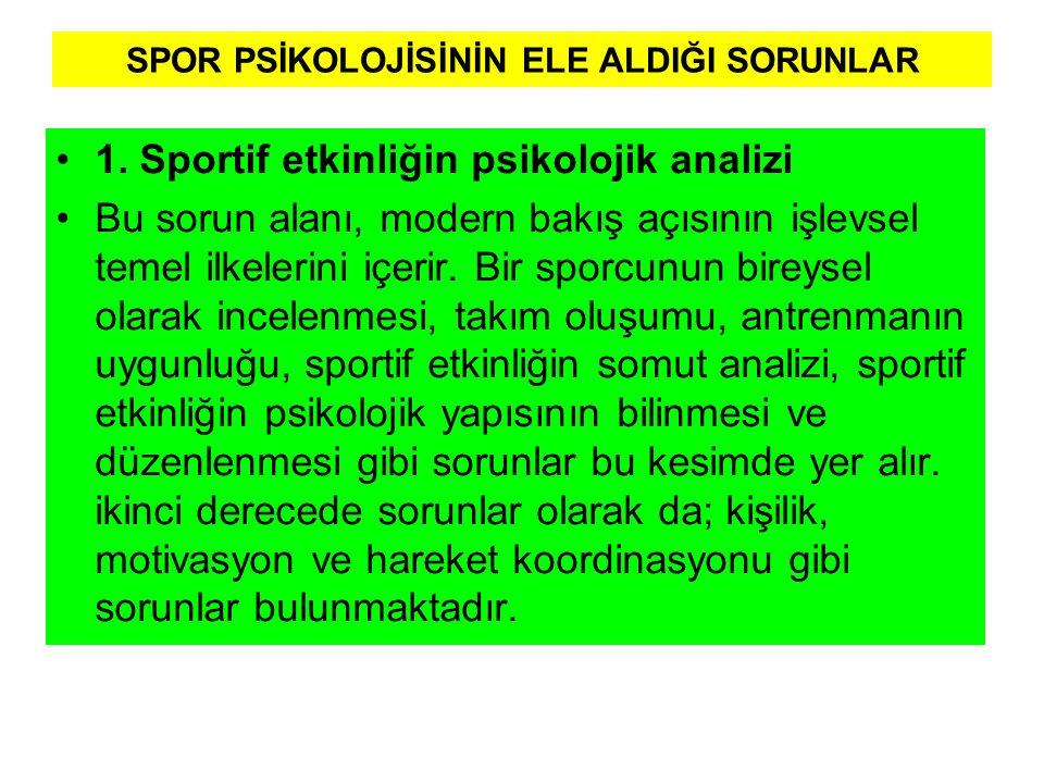 SPOR PSİKOLOJİSİNİN ELE ALDIĞI SORUNLAR 1. Sportif etkinliğin psikolojik analizi Bu sorun alanı, modern bakış açısının işlevsel temel ilkelerini içeri