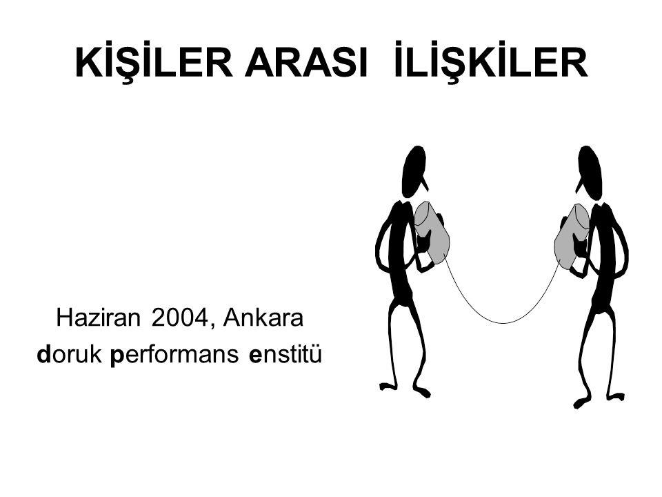 KİŞİLER ARASI İLİŞKİLER Haziran 2004, Ankara doruk performans enstitü