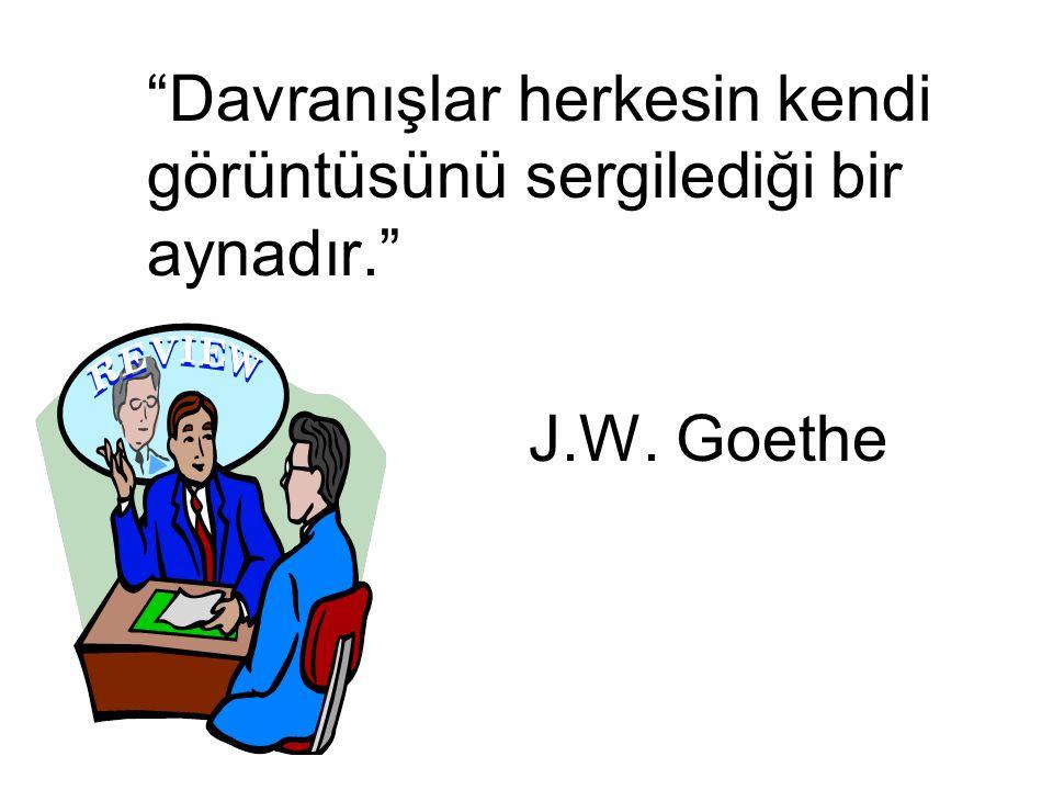 """""""Davranışlar herkesin kendi görüntüsünü sergilediği bir aynadır."""" J.W. Goethe"""
