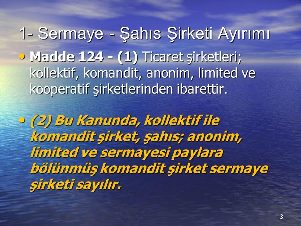 1- Sermaye - Şahıs Şirketi Ayırımı Madde 124 - (1) Ticaret şirketleri; kollektif, komandit, anonim, limited ve kooperatif şirketlerinden ibarettir.