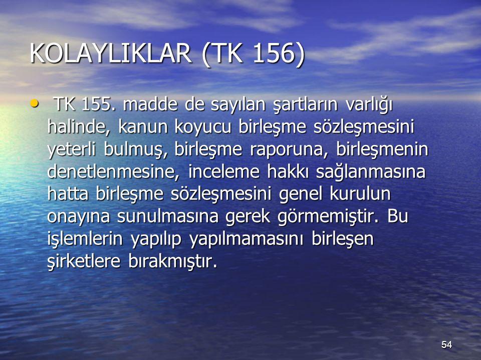 54 KOLAYLIKLAR (TK 156) TK 155.