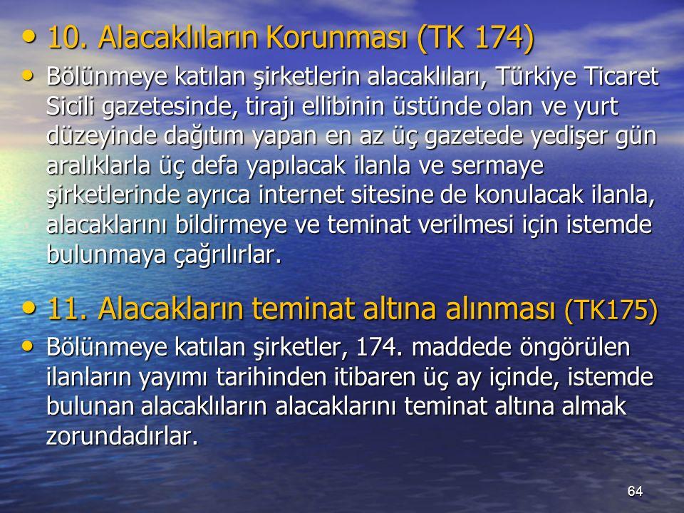 10. Alacaklıların Korunması (TK 174) 10.