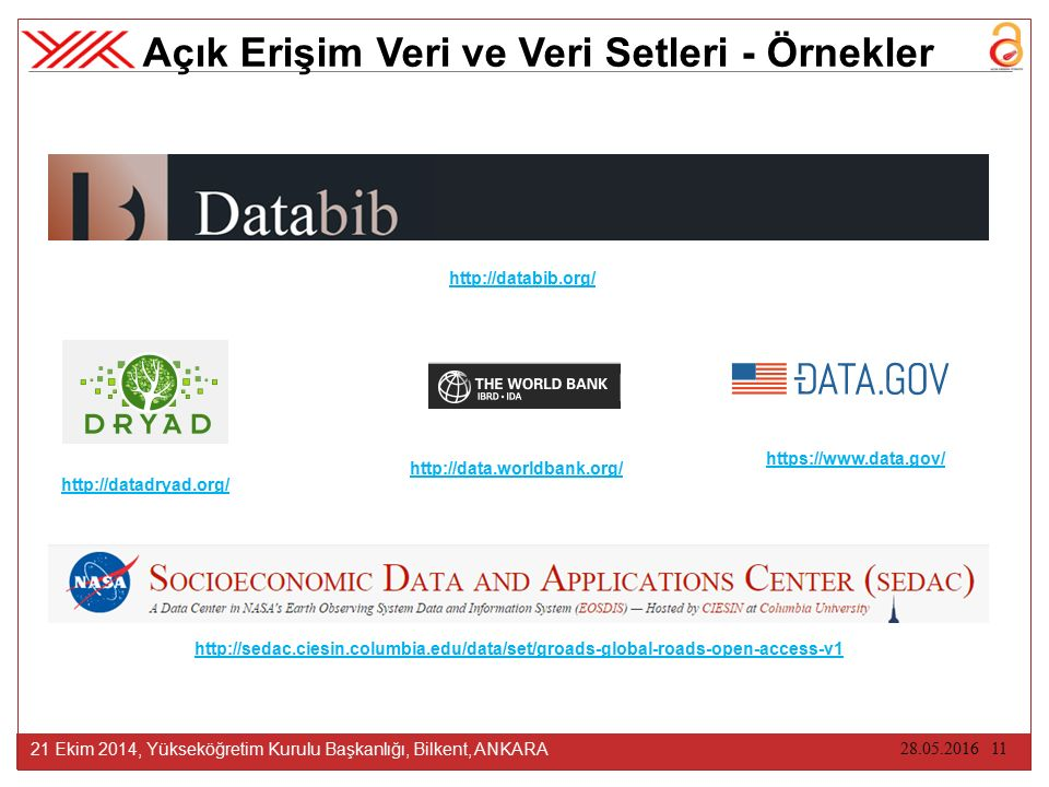28.05.2016 11 21 Ekim 2014, Yükseköğretim Kurulu Başkanlığı, Bilkent, ANKARA Açık Erişim Veri ve Veri Setleri - Örnekler http://databib.org/ http://sedac.ciesin.columbia.edu/data/set/groads-global-roads-open-access-v1 http://data.worldbank.org/ https://www.data.gov/ http://datadryad.org/