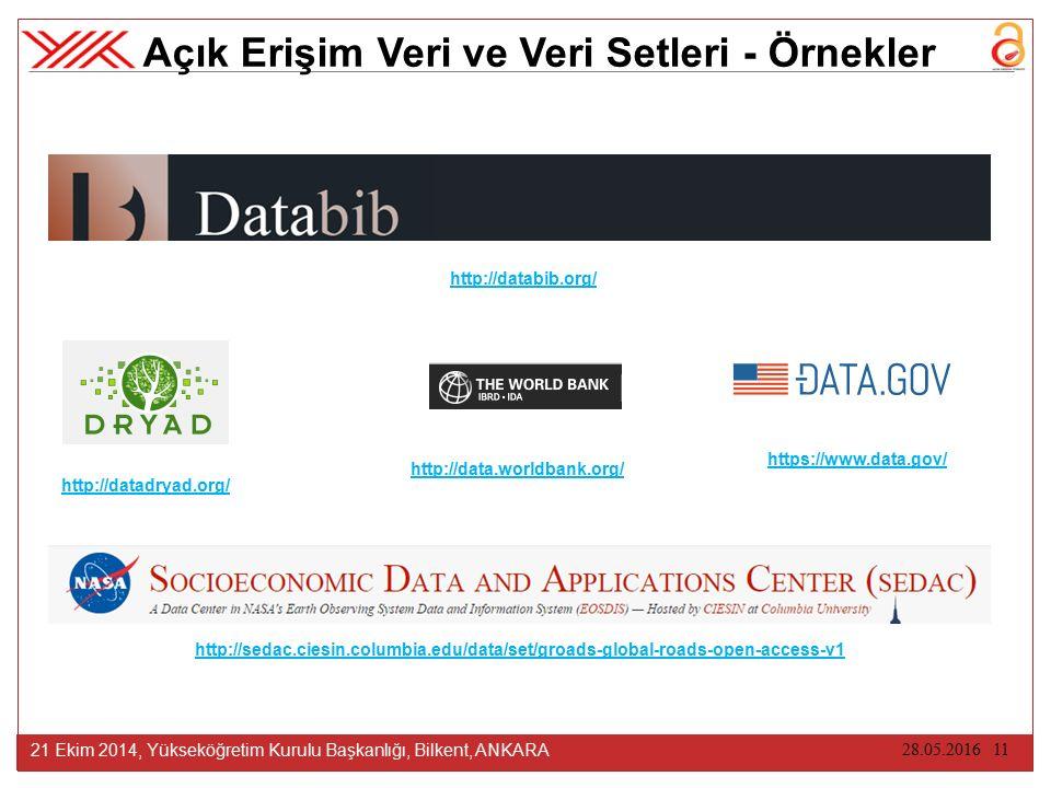 28.05.2016 11 21 Ekim 2014, Yükseköğretim Kurulu Başkanlığı, Bilkent, ANKARA Açık Erişim Veri ve Veri Setleri - Örnekler http://databib.org/ http://se