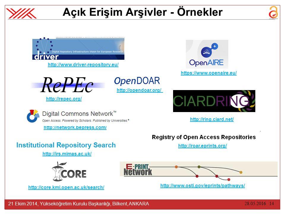 28.05.2016 14 21 Ekim 2014, Yükseköğretim Kurulu Başkanlığı, Bilkent, ANKARA Açık Erişim Arşivler - Örnekler http://www.driver-repository.eu/ http://www.osti.gov/eprints/pathways/ http://opendoar.org/ http://repec.org/ http://roar.eprints.org/ http://ring.ciard.net/ http://core.kmi.open.ac.uk/search/ http://irs.mimas.ac.uk/ https://www.openaire.eu/ http://network.bepress.com/