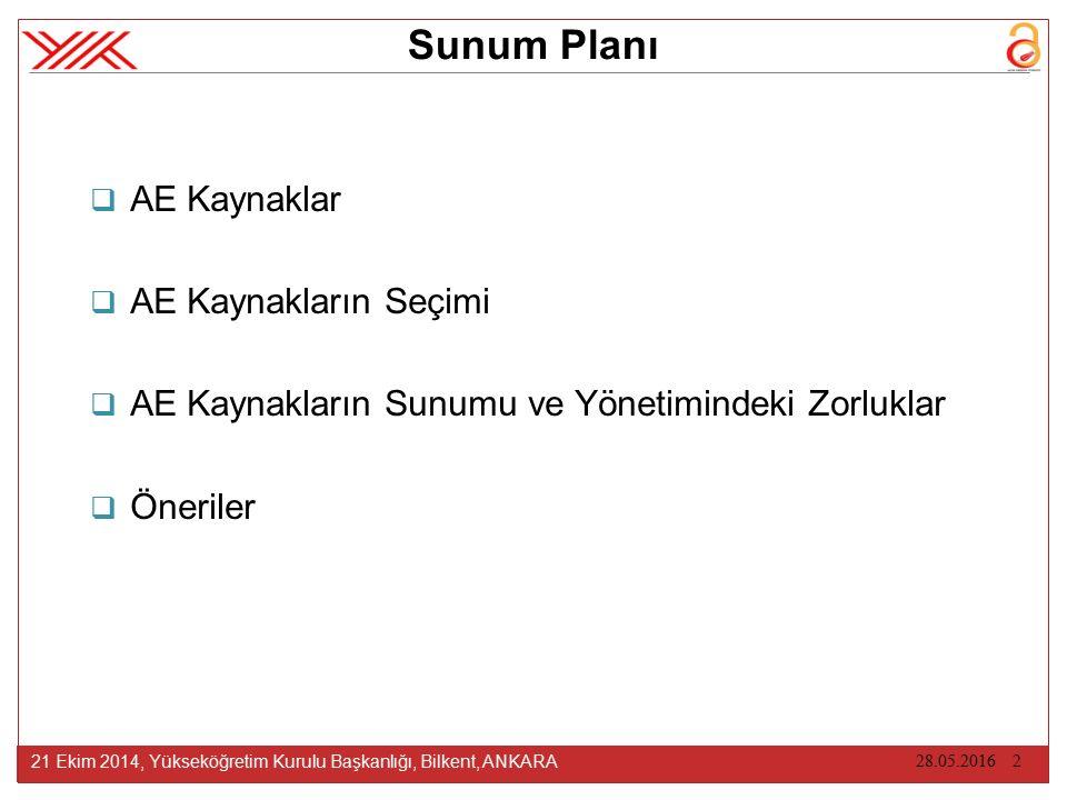 AE KAYNAKLAR 21 Ekim 2014, Yükseköğretim Kurulu Başkanlığı, Bilkent, ANKARA 17.10.2014