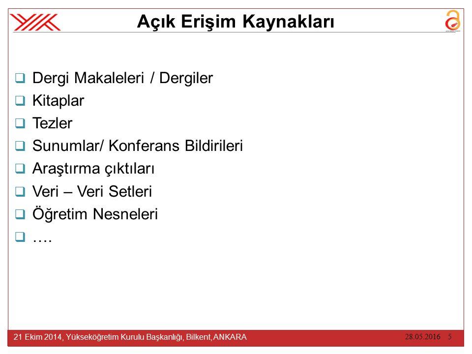 AE KAYNAKLARIN SUNUMU & YÖNETİMİNDEKİ ZORLUKLAR 21 Ekim 2014, Yükseköğretim Kurulu Başkanlığı, Bilkent, ANKARA 17.10.2014